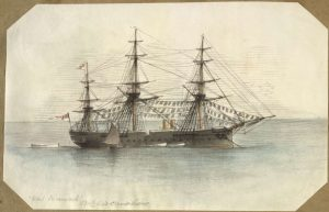 H.M.S. Inconstant, the ship that brought the Irish Orphan girls to Adelaide in 1849, drawing by George Gordon McCrae, 1881. Image via the National Library of Australia.