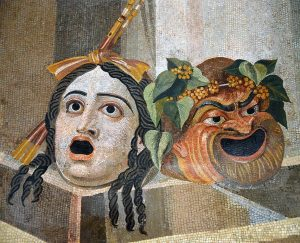 Tragedy and Comedy, 2nd century AD, from Rome Thermae Decianae. Photograph by Carole Raddato. Image via Wikimedia Commons.