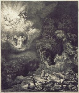 The Angel Appearing to the Shepherds (1634), by Rembrandt van Rijn. Image via Wikimedia Commons.