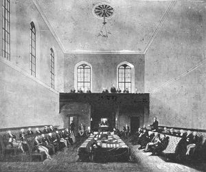 Dr Lang addressing the New South Wales Legislative Council Australia, 1844. Image via Wikimedia Commons.
