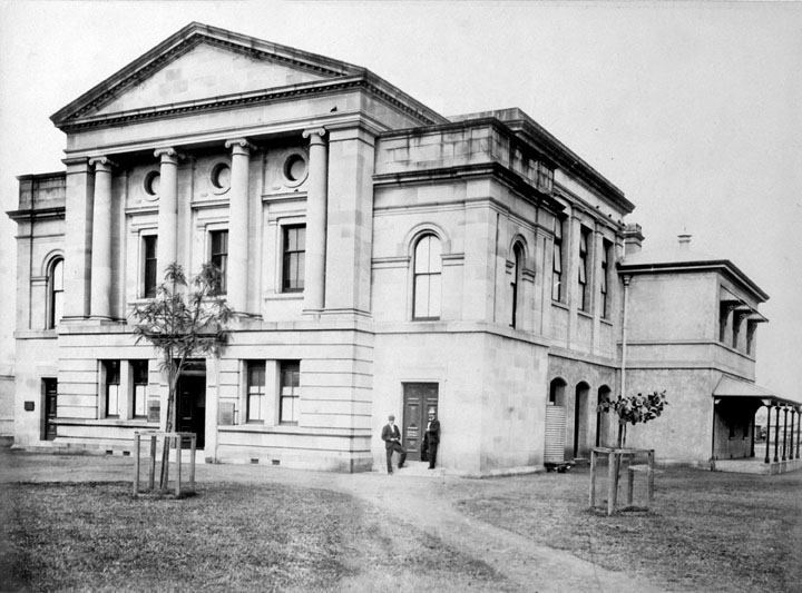 Rockhampton Supreme Court, corner East and Fitzroy Streets, Rockhampton, c. 1890. Image via Queensland State Archive.