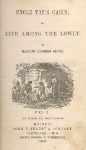 First edition title-page illustration by Hammatt Billings, Harriet Beecher Stowe, Uncle Tom's Cabin (Boston: John P. Jewett and Company, 1852). Image via Wikimedia Commons.