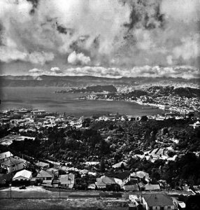A view of Wellington, New Zealand, in 1947. Image via U.S. Navy National Museum of Naval Aviation.