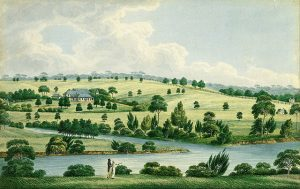Joseph Lycett, Residence of John Macarthur Esq near Parramatta N.S.W. (c. 1823). M.J.M. Carter AO Collection 2004, Art Gallery of South Australia.