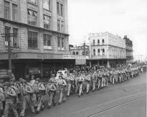 Parade Through Auckland, New Zealand, 1943. Julian C. Smith Collection (COLL/202), Marine Corps Archives & Special Collections. Image via Marine Corps History Division.