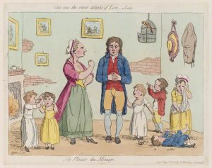 James Gillray, 'Les plaisir du mènage', published by Hannah Humphrey, 1781. Hand-coloured etching, 223 mm x 281 mm, NPG D12294. © National Portrait Gallery, London. This image appears on the cover of Parents of Poor Children in England, 1580–1800.