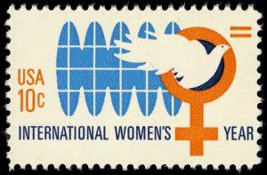 International Women's Year 10c 1975 issue U.S. stamp. Image via U.S. Postal Service; National Postal Museum.