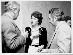 Elizabeth Reid speaking to Gough Whitlam. Image courtesy of the Museum of Australian Democracy.