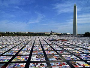 The AIDS Memorial Quilt, Washington, D.C., 1988. Image via Wikimedia Commons.