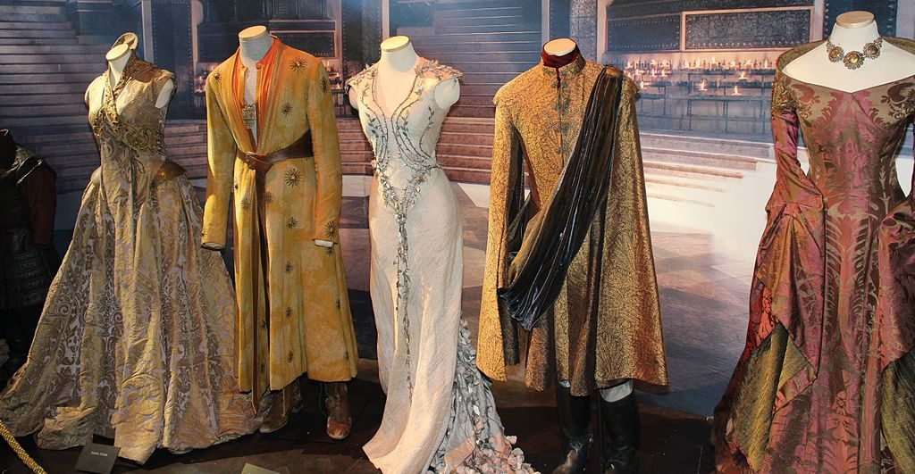 HBO exhibition of court costumes worn in Game of Thrones, Oslo, Norway, 2014. Photograph by Benjamin Skinstad. Image via Wikimedia Commons.