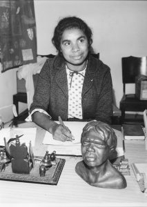 Joyce Mercy at the Foundation for Aboriginal Affairs, Sydney, 1965. Photograph and permission courtesy of the Clague family, 2017.