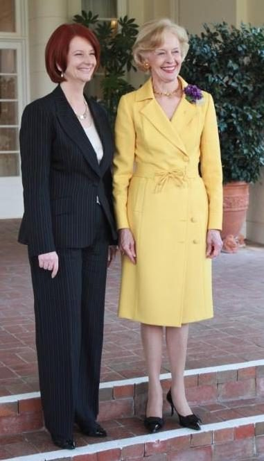 Julia Gillard, with Governor-General Dame Quentin Bryce, after her swearing in as 27th Prime Minister of Australia on June, 24 2010 at Government House, Canberra. Image courtesy of the Governor-General of the Commonwealth of Australia.