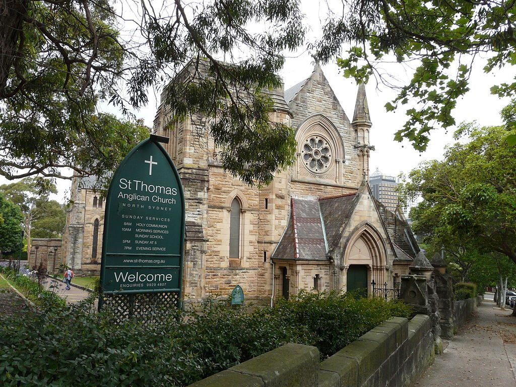 St Thomas' Anglican Church, North Sydney, Australia. Photograph by Mike Young. Image via Wikimedia Commons.