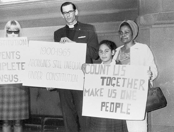 Bishop Garnsey, Faith and Lilon Bandler campaigning for a YES vote, 1967. Image via Audiovisual Archive, Australian Institute of Aboriginal and Torres Strait Islander Studies, Collaborating for Indigenous Rights.