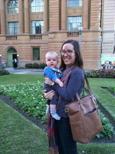 Laura Rademaker and her baby at the 2017 Australian Historical Association Conference. Photograph via author.